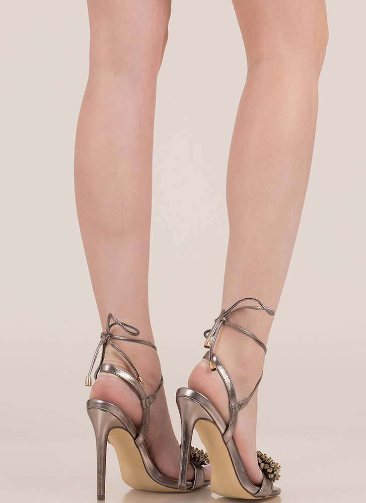Bead Me To It Metallic Lace-Up Heels PEWTER