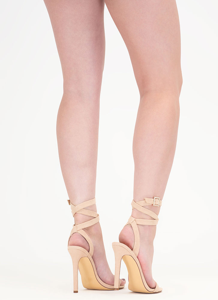Wraparound The Bend Faux Suede Heels NUDE (Final Sale)