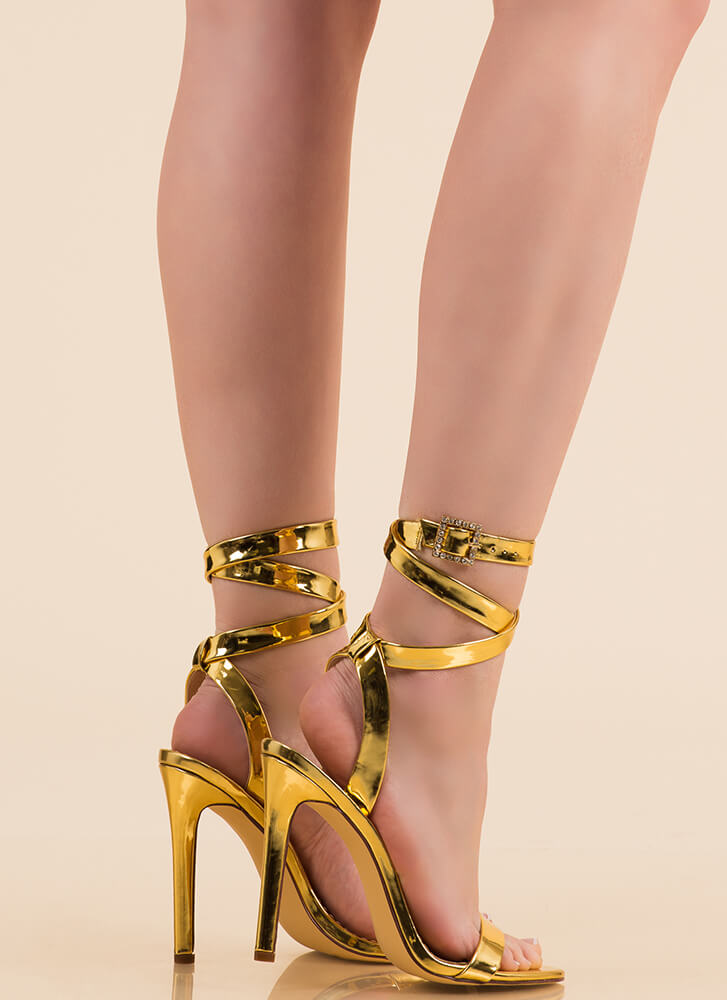 Wraparound The Bend Metallic Heels GOLD