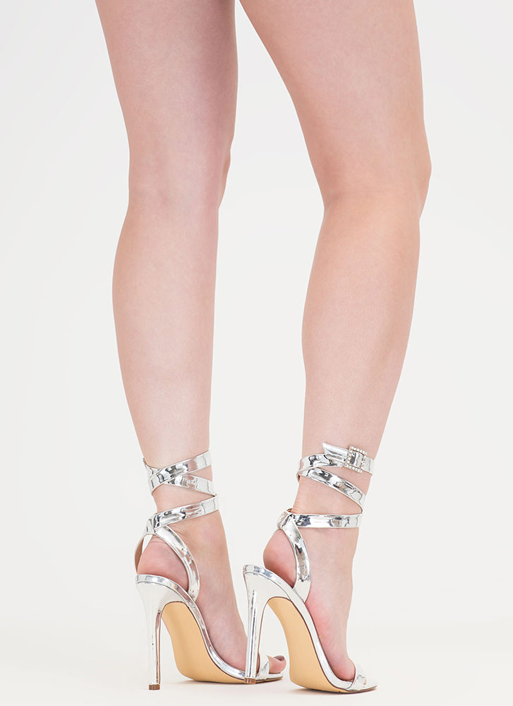 Wraparound The Bend Metallic Heels SILVER