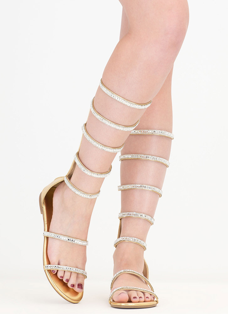 Bling Battle Metallic Gladiator Sandals GOLD