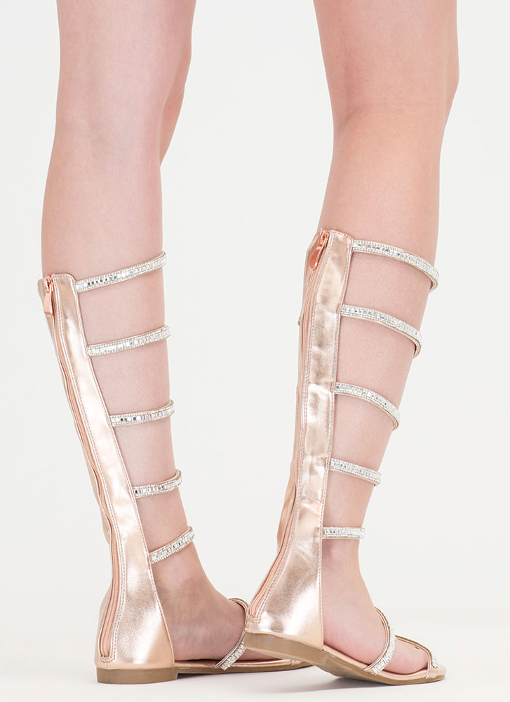 Bling Battle Metallic Gladiator Sandals ROSEGOLD