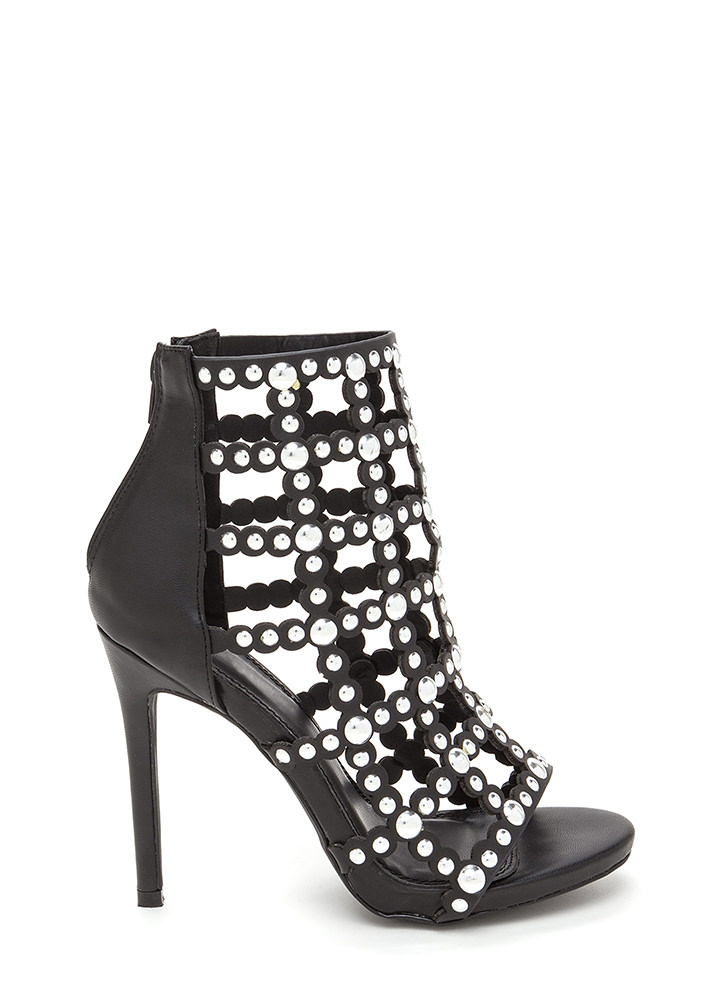 Bubbly Personality Strappy Studded Heels BLACK