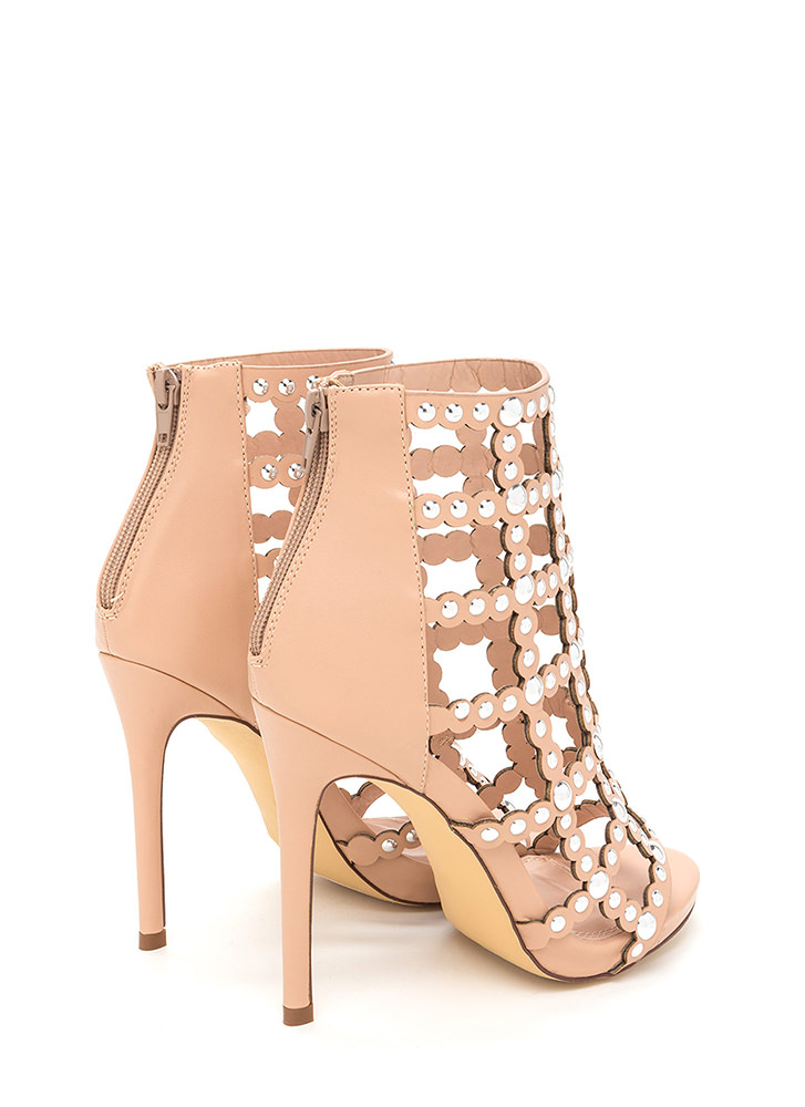 Bubbly Personality Strappy Studded Heels NUDE (Final Sale)