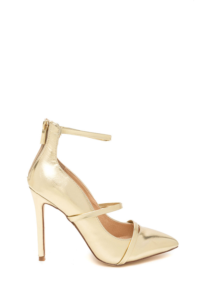 Feel Three Pointy Metallic Heels GOLD