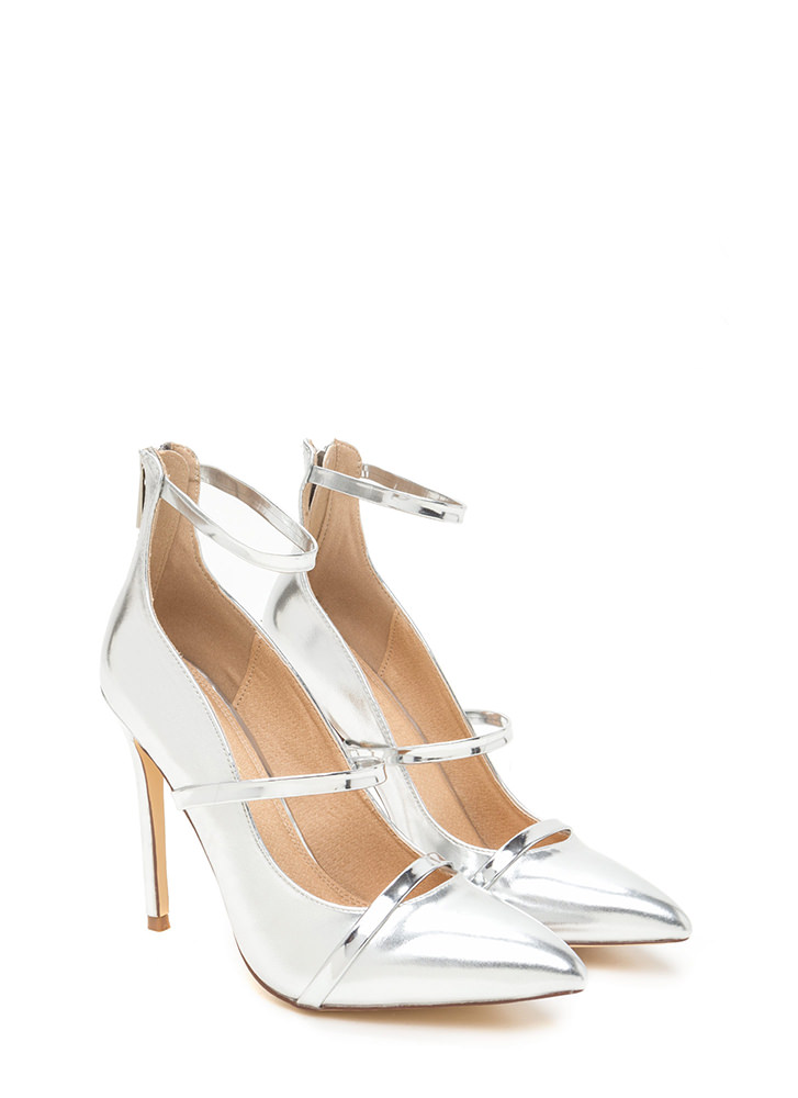 Feel Three Pointy Metallic Heels SILVER