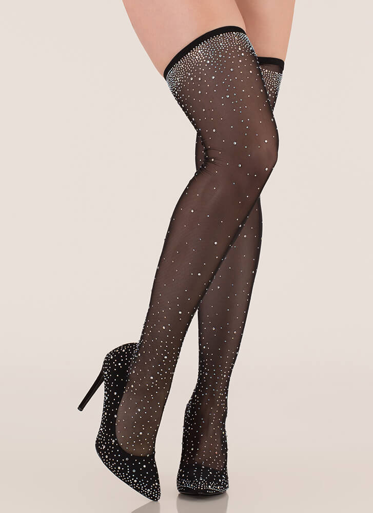 Stocking Filler Jeweled Thigh-High Heels BLACK