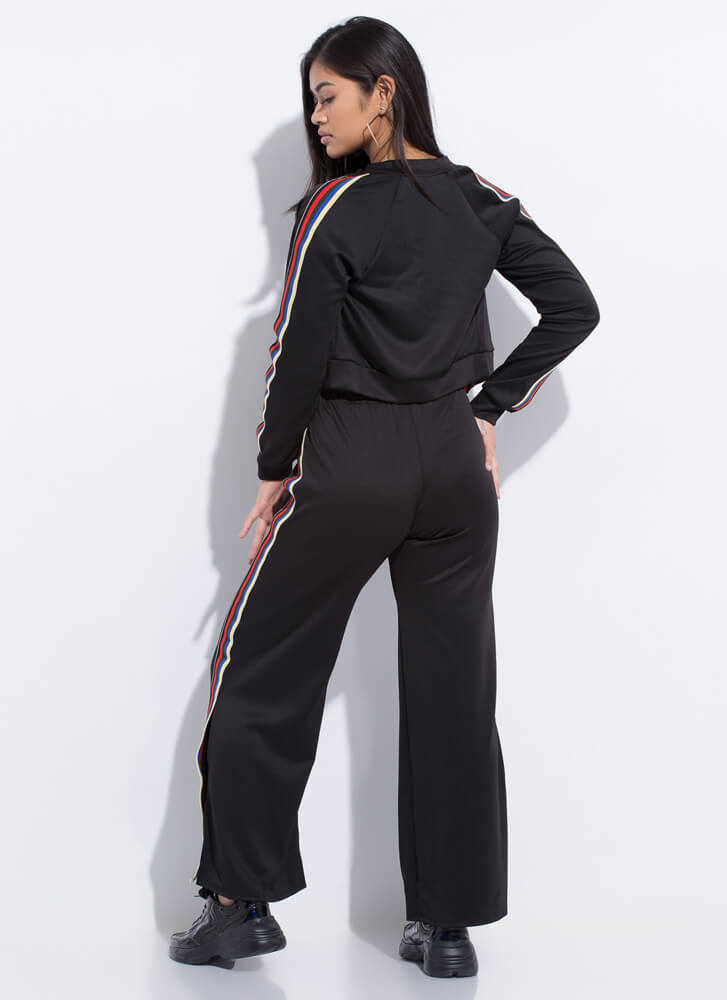 Right On Track Striped Top 'N Pants Set BLACK