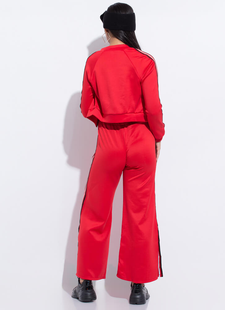 Right On Track Striped Top 'N Pants Set RED