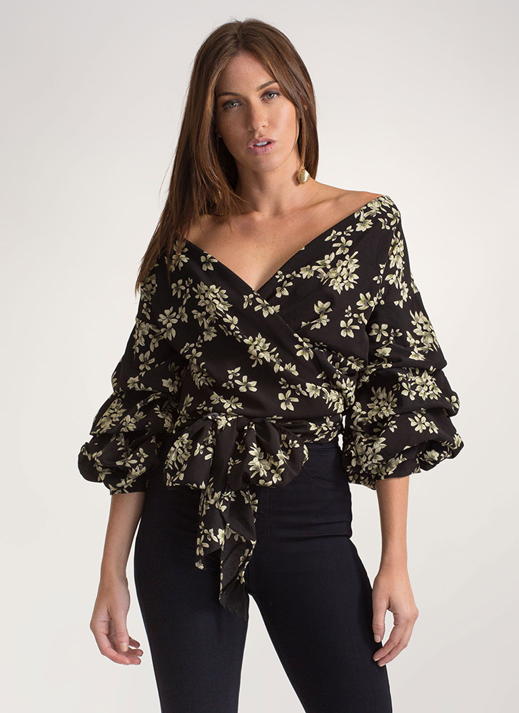 Chic Floral Garden Tied Wrap Top BLACK