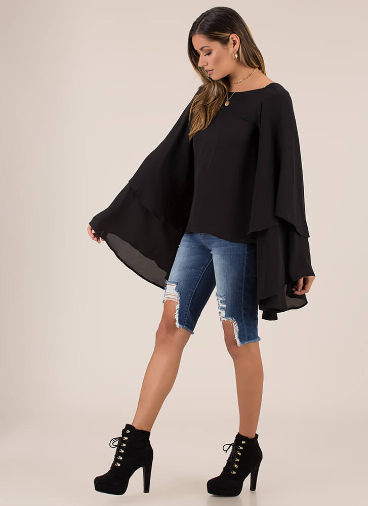 Swept Away Ruffled V-Back Top BLACK