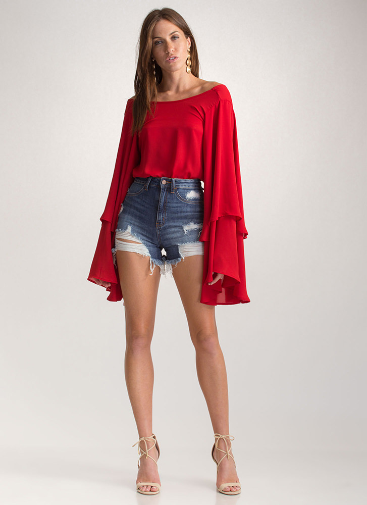 Swept Away Ruffled V-Back Top RED
