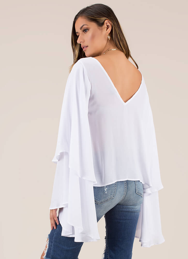Swept Away Ruffled V-Back Top WHITE