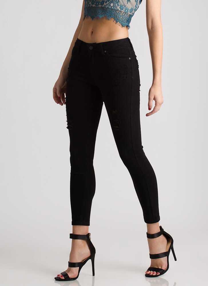 Simply Distressed Cropped Skinny Jeans BLACK