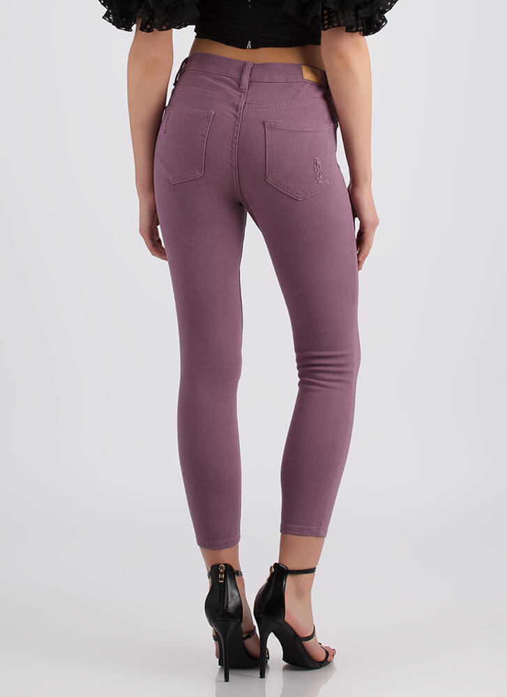 Simply Distressed Cropped Skinny Jeans LTPLUM