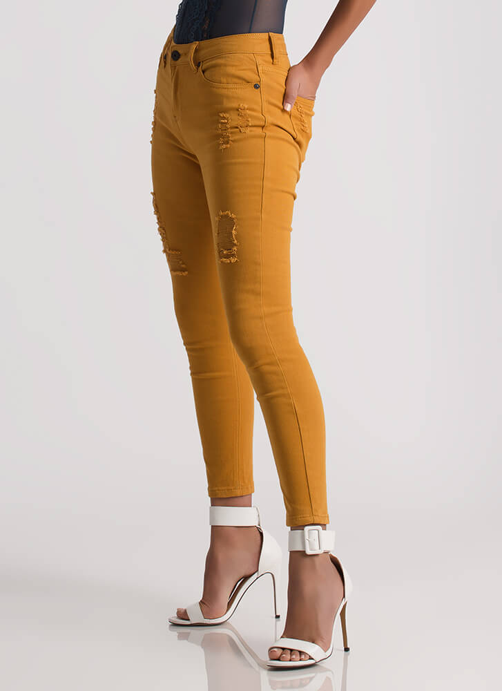 Simply Distressed Cropped Skinny Jeans MUSTARD