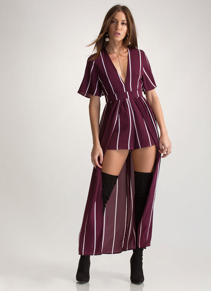 Chic Timeline Striped Plunging Maxi PLUMWHITE