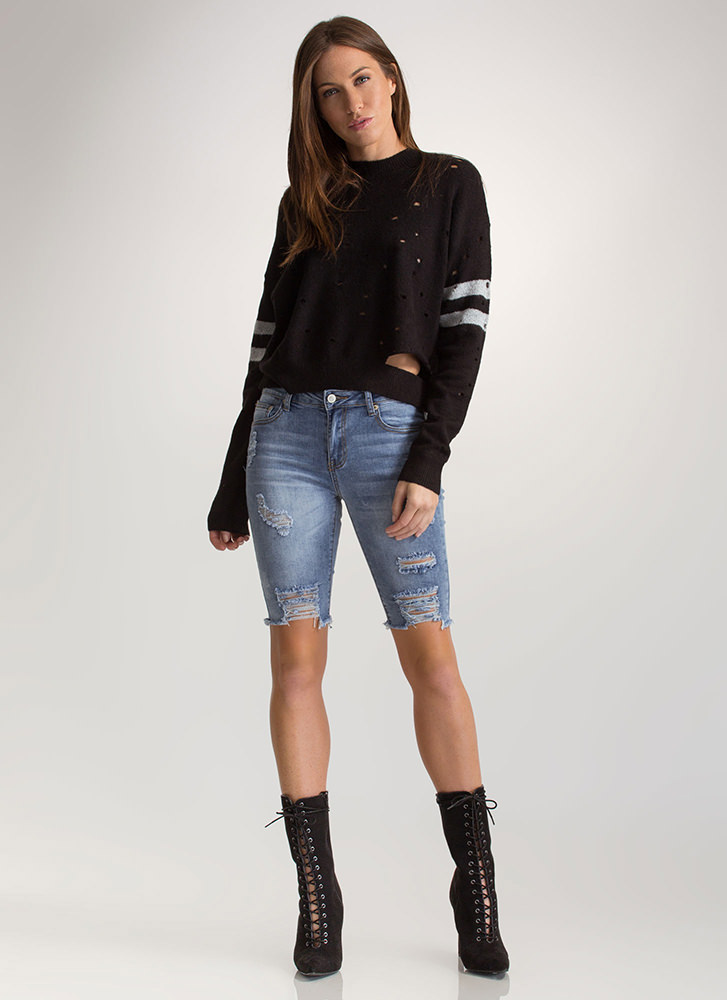 Holey Grail Striped Sweater BLACK