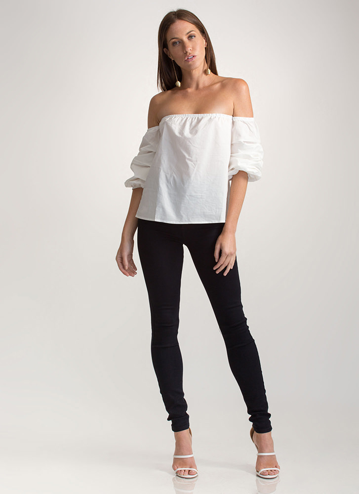 Perfect Ten Puffy Off-Shoulder Top WHITE