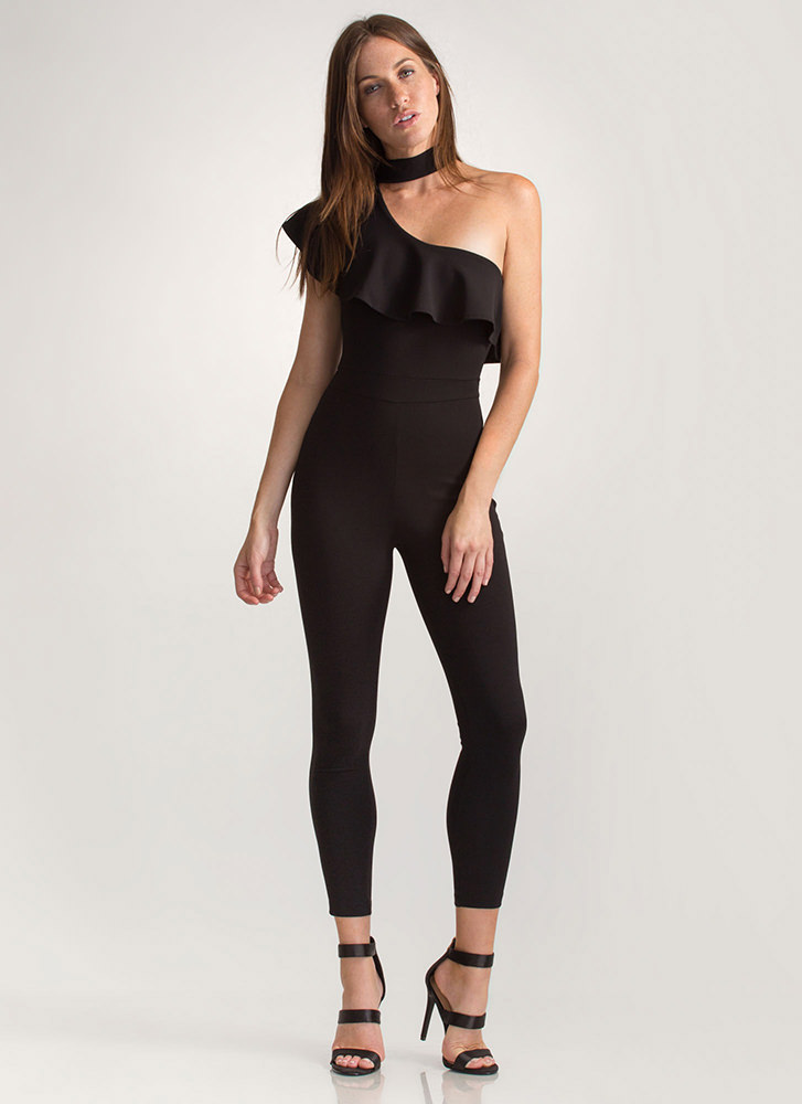 Chic Night Ruffled One Shoulder Jumpsuit BLACK