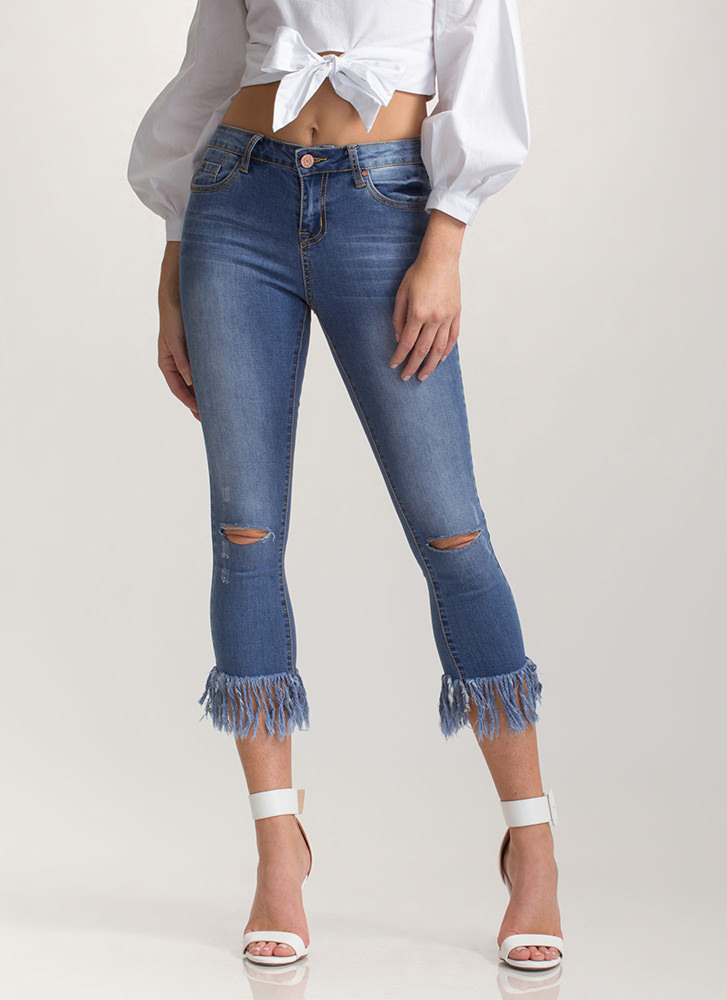 Fray Fair Cropped Skinny Jeans BLUE