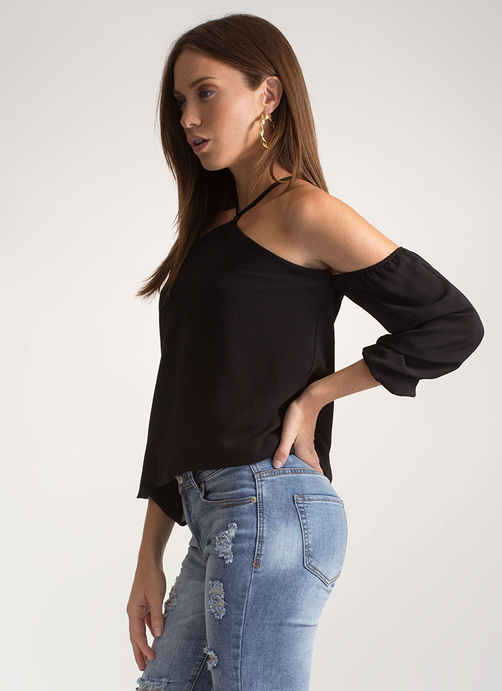 Such A Romantic Flared Cold-Shoulder Top BLACK