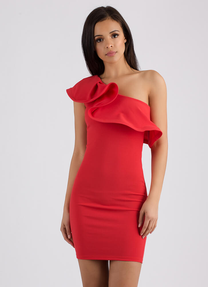 Dramatic Take Ruffled One-Shoulder Dress CORAL