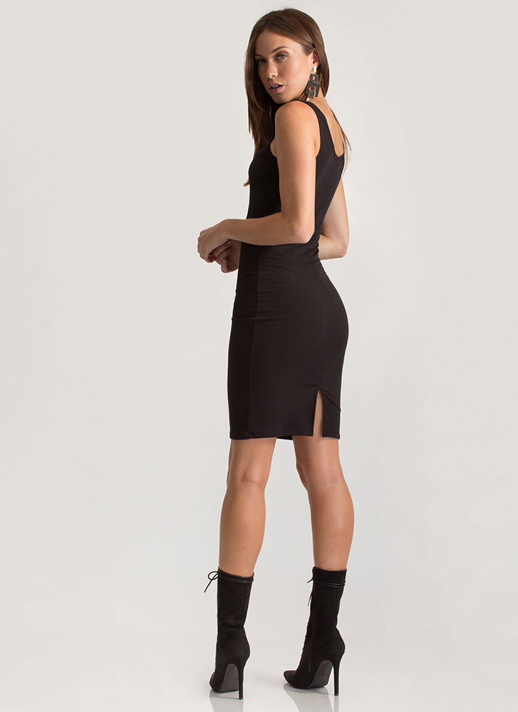 Simple Math Rib Knit Tank Dress BLACK