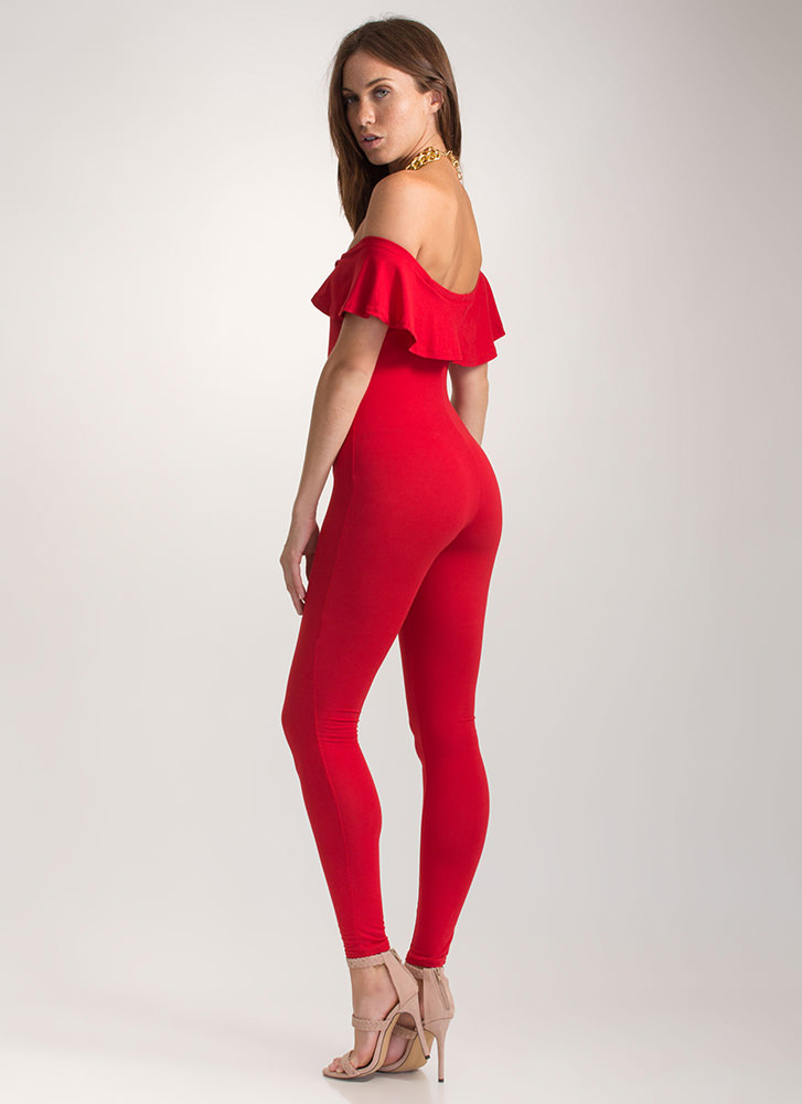 Chic Move Ribbed Off-Shoulder Jumpsuit RED