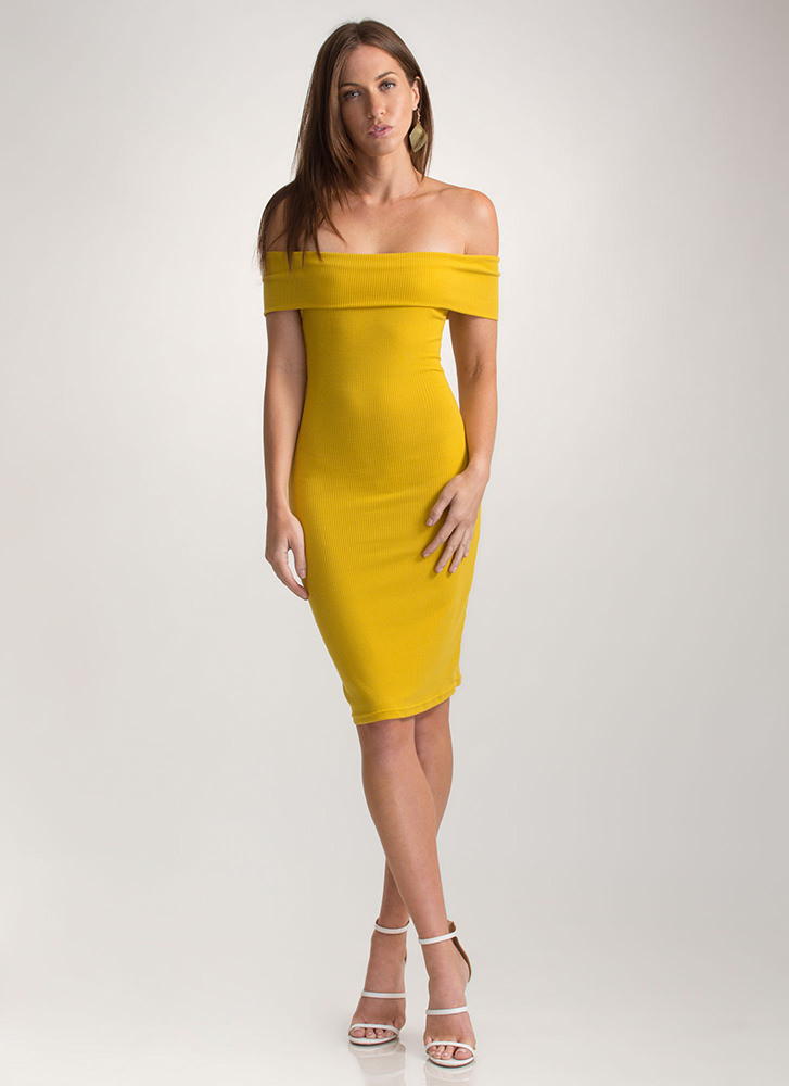 Off-Shoulder Season Ribbed Mini Dress MUSTARD