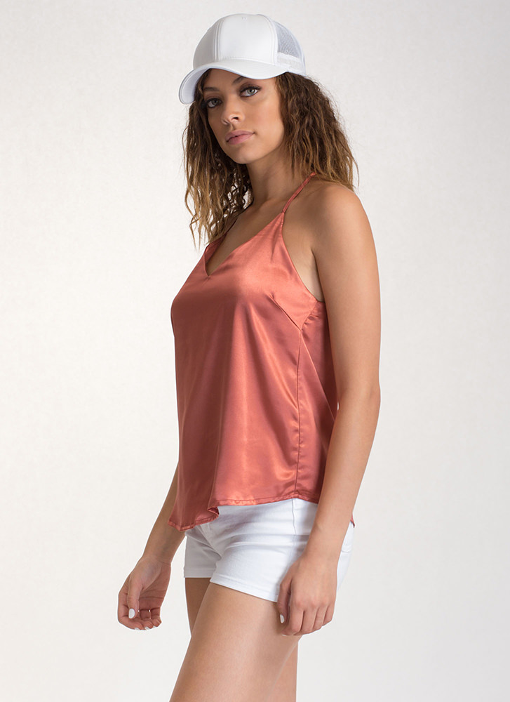 Luxe Touch Strappy Satin Tank Top DUSTYSALMON