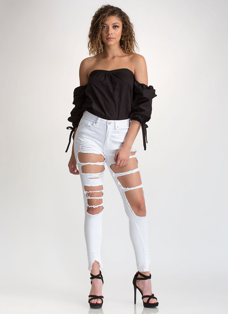 French Countryside Tied Off-Shoulder Top BLACK (Final Sale)