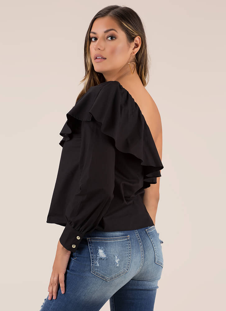 Ruffled Radiance One-Shoulder Top BLACK