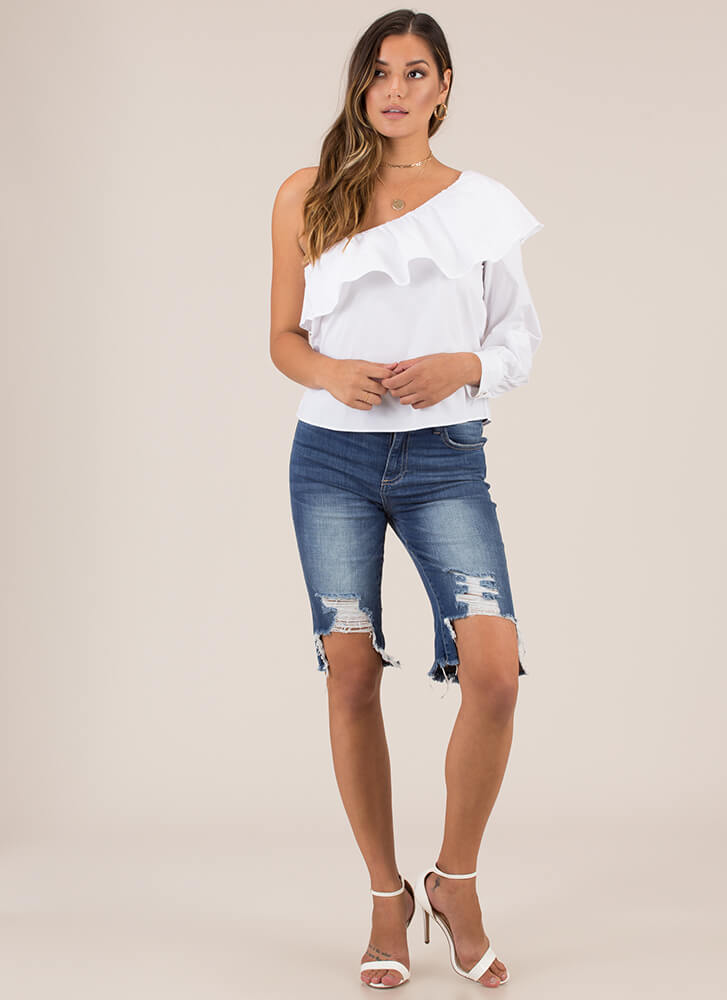 Ruffled Radiance One-Shoulder Top WHITE