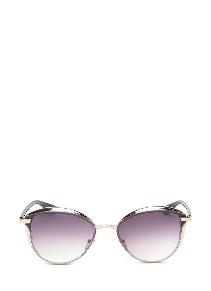 Fashion Editor Shiny Rounded Sunglasses SILVER
