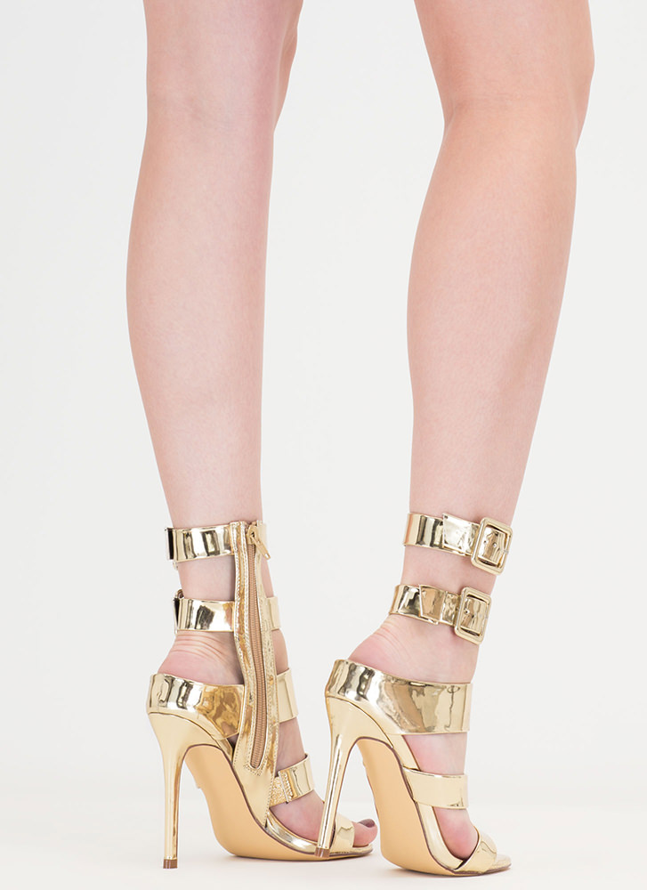 Catwalk Strappy Metallic Buckled Heels GOLD