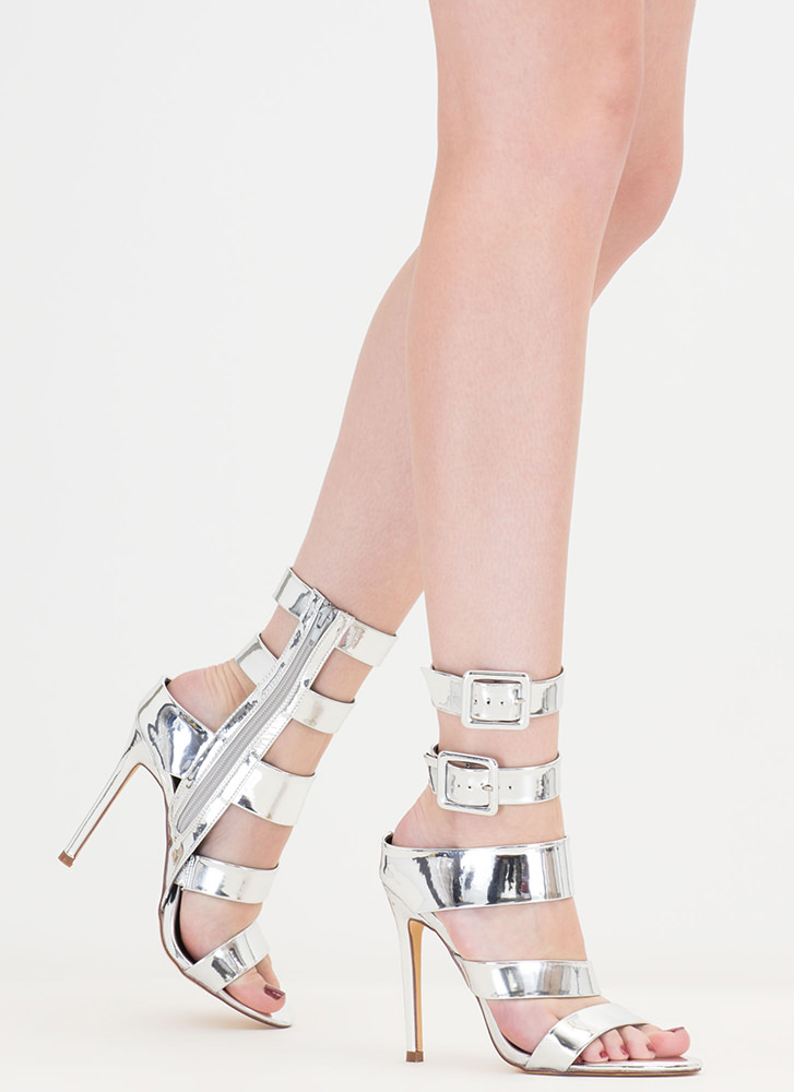 Catwalk Strappy Metallic Buckled Heels SILVER