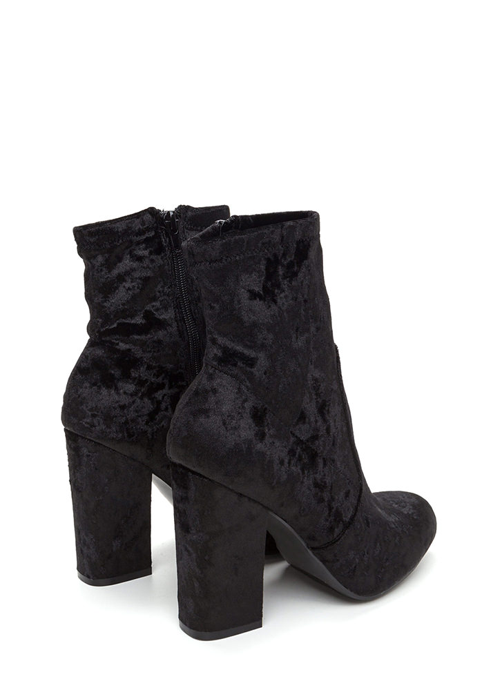 Step To It Chunky Velvet Booties BLACK