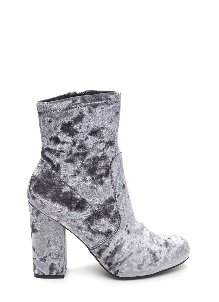 Step To It Chunky Velvet Booties GREY