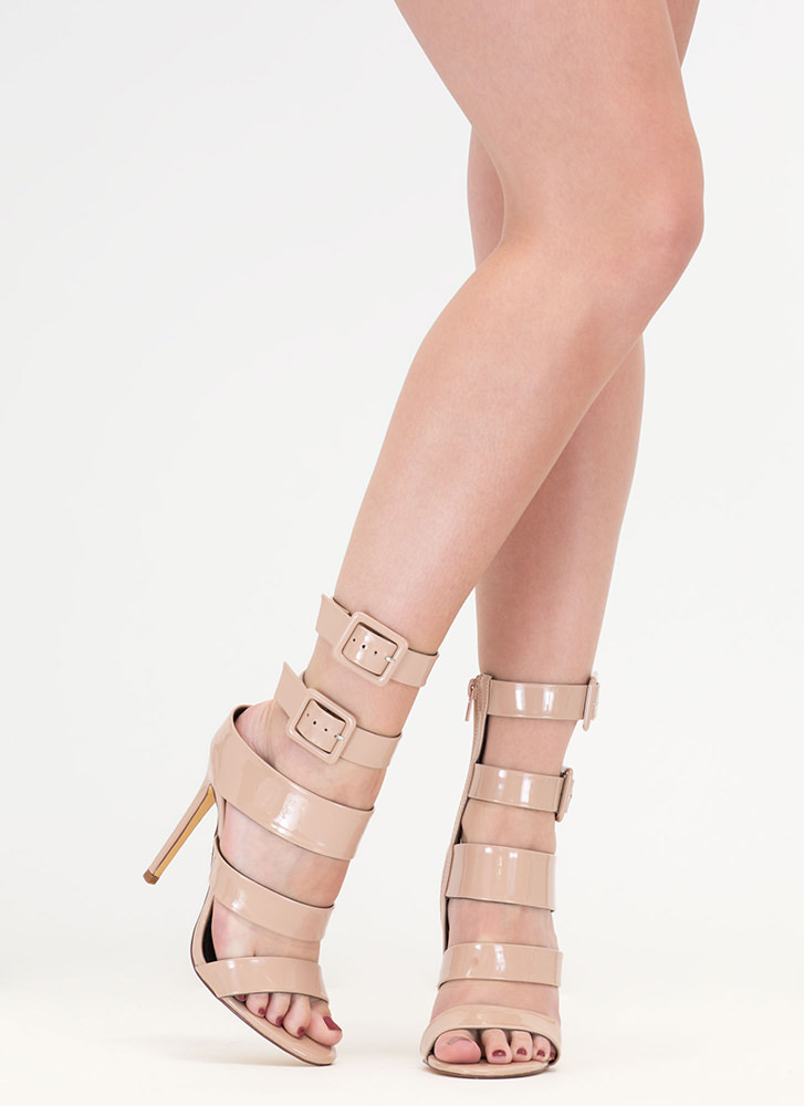 Catwalk Strappy Faux Patent Heels NUDE