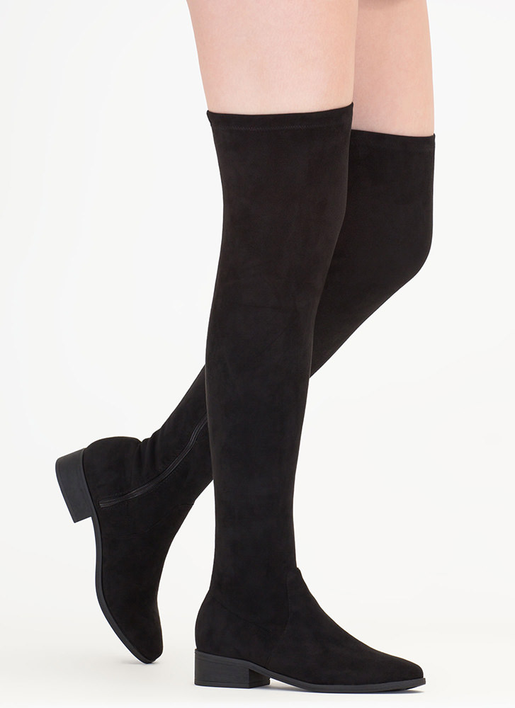 Walk My Way Faux Suede Thigh-High Boots BLACK