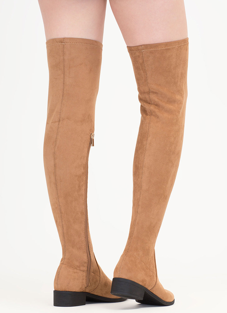 Walk My Way Faux Suede Thigh-High Boots TAN