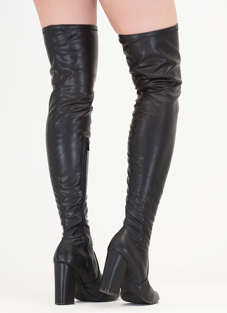 Walk-Off Faux Leather Thigh-High Boots BLACK