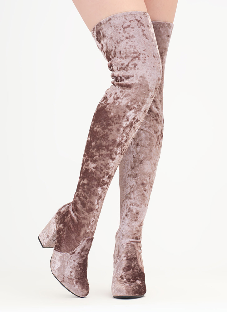 Walk-Off Crushed Velvet Thigh-High Boots TAUPE