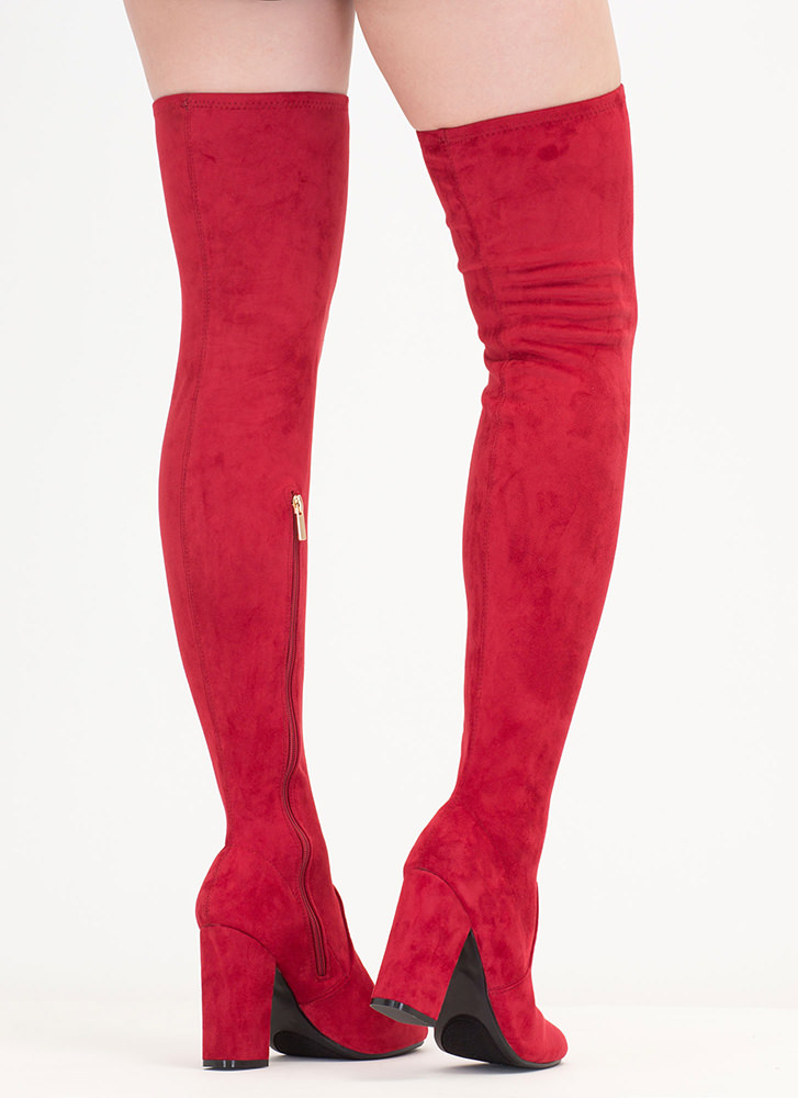 Walk-Off Faux Suede Thigh-High Boots RED