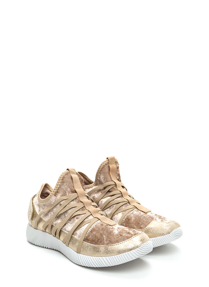 Easy Luxe Velvet Sneakers TAUPE