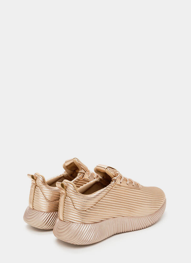 Curves And Ridges Metallic Sneakers ROSEGOLD
