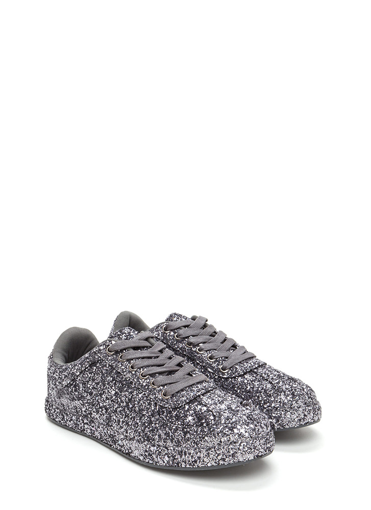 Super Sparkly Glitter Platform Sneakers PEWTER