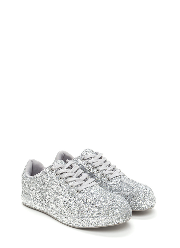 Super Sparkly Glitter Platform Sneakers SILVER
