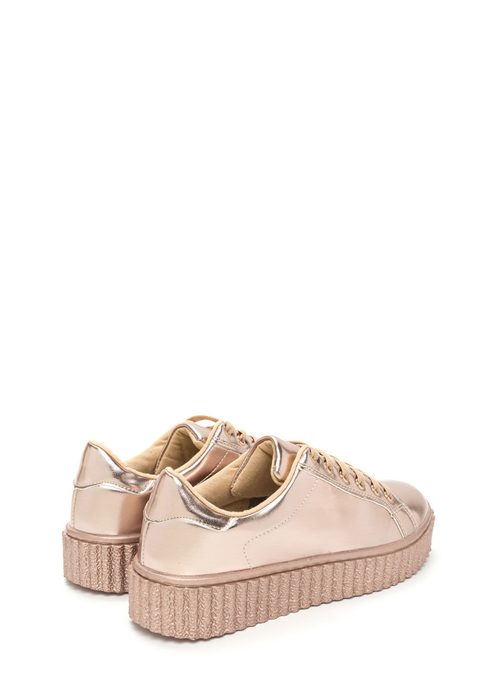 You Creeper Metallic Platform Sneakers ROSEGOLD